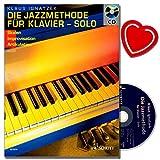 Die Jazzmethode für Klavier - Jazzimprovisation für Anfänger, fortgeschrittenere Pianisten mit CD,Übungen und Aufgaben [Noten / Sheetmusic] mit bunter herzförmiger Notenklammer
