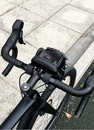 rhinowalk Bike Lenkertasche wasserdicht Leder Multifunktions Pack für Mountain Bike Road Bike Klapprad Carbon fiber lines black