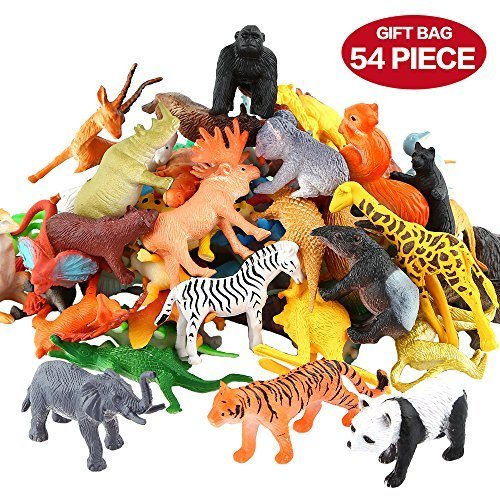 54 Mini Jungle Animal Toys Set, Zoo World Animal Party Favorites for Boys, Small Farm Animal Farm Toys Set for Children