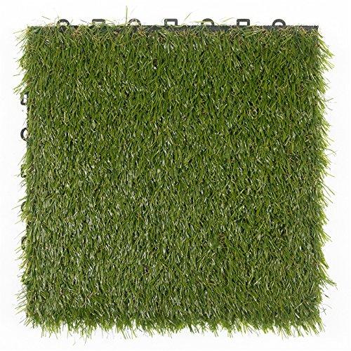 Sol Max® Carreaux de sol en gazon synthétique Click Ensemble teinté teinté 30x 30cm carrelage gazon Plaque gazon en plastique herbe pour carrelage Dalles à emboîter 8 pièces