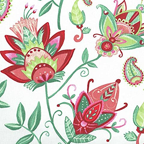 Tela floral exótico - fondo blanco con rojo, verde e rosa - 100% algodón suave | ancho: 160cm (1 metro)