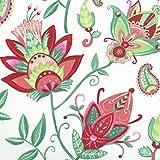 Baumwollstoff | Exotische Blumen Stoff (Grundfarbe: weiß)