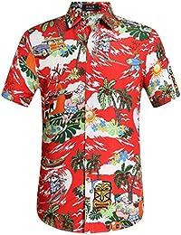 SSLR Chemise Homme Tropical Hawaiien Manche Courte Casual Père Noël