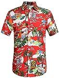 SSLR Chemise Hawaïenne Homme Noël Manche Courte Casual Imprimé Père Noël (Medium, Rouge)
