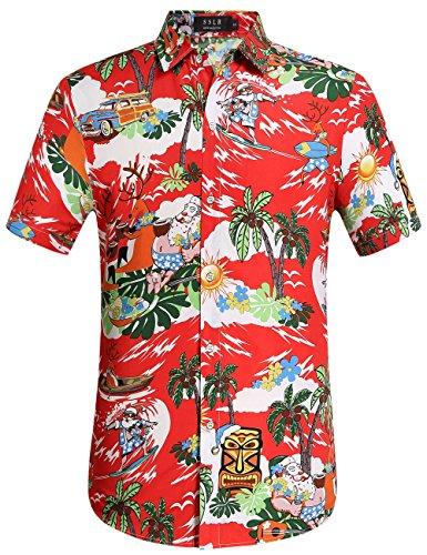 Gestalten Kostüm Eigenes Ihr Sie - SSLR Herren Hemd Hawaiihemd Kurzarm Baumwolle Freizeithemd Palmen Gedruckt Shirt für Reise Strand (Large, Rot)