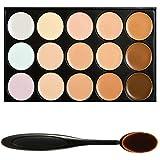 Boolavard® TM 15 nuances couleur correcteur maquillage Palette Kit faire Up serti ovale cosmétiques, maquillage de brosse
