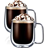 Digralne Tasse Double Paroi Verre, Tasse en Verre à Cappuccino Mug Verre Café Borosilicate avec Poignée, 300ml, Lot de 2