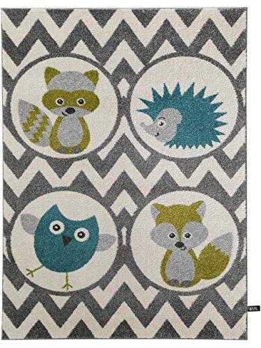 benuta Kinderteppich Forest Friends Grün 160x230 cm | Teppich für Spiel- und Kinderzimmer