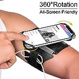 VUP - Fascia da braccio universale da corsa, girevole a 180°, compatibile con iPhone X Xr Xs Max 7/8 Plus, Samsung S9 S10, colore: Nero