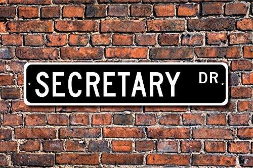 CELYCASY Señal de secretario de regalo para oficina o empleado, decoración de oficina, asistente de oficina, letrero de metal de calidad
