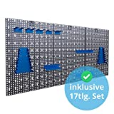 Werkzeuglochwand aus Metall mit 17tlg. Hakenset, ca. 120 x 60 x 1,5 cm, Werkzeug-wand Loch-wand für Werkstatt, Blau, Panorama24