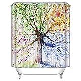 Cateray Bunte Baum Badezimmer Duschvorhang Anti-Schimmel Polyester Duschvorhänge wasserdicht antibakteriell mit 12 Haken (180 x 200cm)