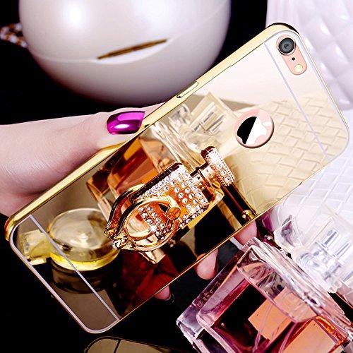 Custodia iPhone 7, iPhone 8 Cover Glitter Specchio, SainCat Custodia in Hard Plastic e Metallo Protettiva Cover per iPhone 7/8, Bling Glitter Sparkles 3D Lusso Rhinestones Strass Diamante Ultra Slim H Doro #3