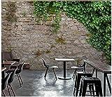 Apoart 3D Papier Peint Mur De Fond De Brique En Pierre Naturelle De Vigne De Feuilles Naturelles 300Cmx210Cm
