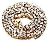 Halukakah  Bling  Männlich 18k Echt Vergoldet Quadratischer Diamant Kasten Kette Halskette 20'(50cm) mit Kostenloser Geschenkpackung