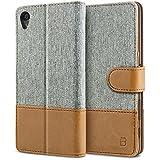 BEZ® Hülle für Sony Xperia X Hülle Handyhülle Kompatibel für Sony Xperia X, Handytasche Schutzhülle Tasche [Stoff und PU Leder] mit Kreditkartenhaltern - Grau