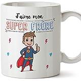 Mugffins Frère Mug/Tasse – J'aime Mon Super frère – Tasse Originale/Cadeau Anniversaire. Céramique 350 ML