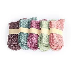UEETEK 5 pares de mujeres lana Cachemira gruesa c lido suave s lido deportivo Casual calcetines