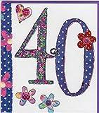 Pigment Productions Originelle Grusskarte zum 40. Geburtstag - veredelt durch Prägung und Glitter mit farbigem Umschlag im Format 16x18cm Innendruck