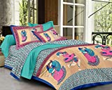 Palchin Creations Taditional Rajathani Couple Dandiya Dance King Size Pure Cotton Double Bed Sheets with 2 Pillow Covers - Pink & Blue ( 100 X 100 inches )