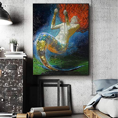 Leinwanddruck Ölgemälde Meerjungfrau Wandkunst Fantasie Vintage Mädchen Bild Leinwanddruck Für Wohnzimmer Wohnzimmer Dekoration Kunst 50Cmx70Cm -