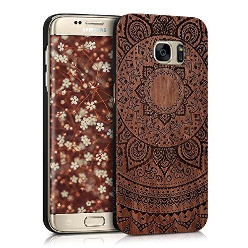 kwmobile Schutzhülle für > Samsung Galaxy S7 edge < - Holz Kunststoff Hardcase Cover Handy Hülle mit Indische Sonne Design Rosenholz