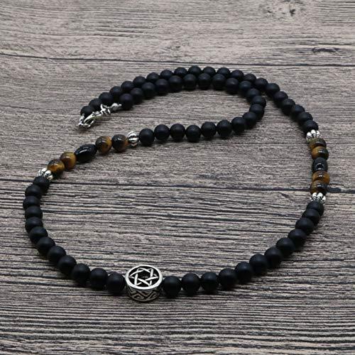 VBNMG Herrenhalskette Männer Perlen Halskette Naturstein Nacklace Männer Religion Schmuck Geschenke für ihn