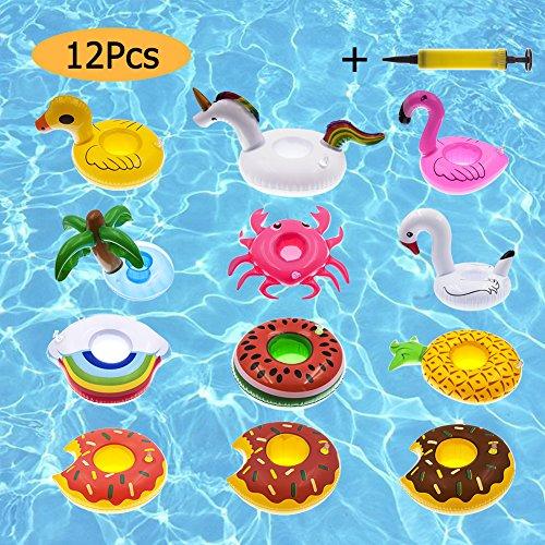 CITTATREND 12pcs Posavasos Piscina Flotador Hichable Sostenedor de Bebida Juguete en Agua, Playa, Jardín, Parque, Fiesta en Verano