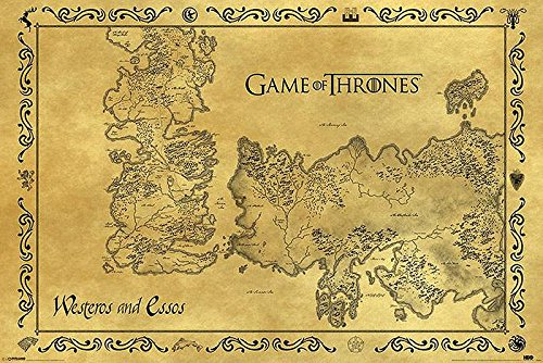Póster Game of Thrones (Juego de Tronos) Mapa antiguo de Westeros y...