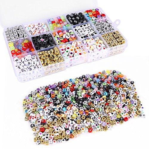 Buchstabenperlen Buchstaben Perlen Beads Anhänger BUSTABEN BÄLLE Alphabet Beads für Loom Band Bandz Armbänder Gummibänder Bänder Starter Set Basteln DIY Zubehör Set (Loom-band-alphabet Perlen)