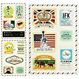 Promobo -Set Lot 3 Planches Stickers Pour Valise Bagages City USA