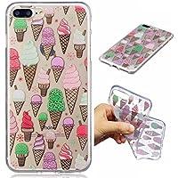Funda iPhone 7PLUS silicona transparente Ultra-fino TPU suave Carcasa Bumper DECHYI Patrón arte-gelato