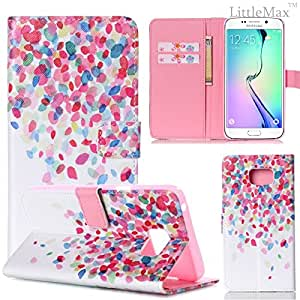 S6 Edge Plus Case, LittleMax(TM) *Kickstand* Flip Folio Leather Wallet Case [Card Slots] [Impact Resistant] Case Cover for Galaxy S6 Edge Plus [with Free Cleaning Cloth,Stylus Pen](Petal)