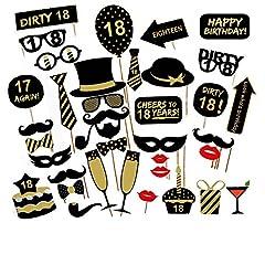 Idea Regalo - Veewon 18 ° compleanno della foto del partito della foto props unisex divertente 36pcs kit DIY adatto per la sua o la sua celebrazione 18 compleanno Cabina fotografica Puntello