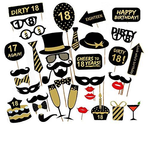 Veewon 18 ° compleanno della foto del partito della foto props unisex divertente 36pcs kit DIY adatto per la sua o la sua celebrazione 18 compleanno Cabina fotografica Puntello