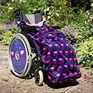 100% Waterproof Fleece-Lined Wheelchair Cosy Cover | Universal fit for Manual and Powered wheelchairs | Adult Size (Navy Flamingo)
