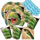 Unbekannt 49-Teiliges Party-Set Dinosaurier - Dino - Alarm - Teller Becher Servietten Silikonform für 16 Kinder