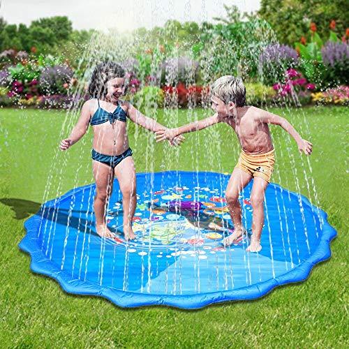 Faburo Aufblasbare Wasserspielmatte Splash Pad Wassergefüllte Spielmatte Wassermatte Pool Kinder mit 500 Wasserbomben Durchmesser 170cm