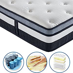 Vesgantti 10.3 Inch Box Top Luxury Pocket Sprung and Memory Foam Mattress / with Ergonomic Design Sleeping Zone - Sizes Available: 3FT Single / 4FT6 Double / 5FT UK King Size