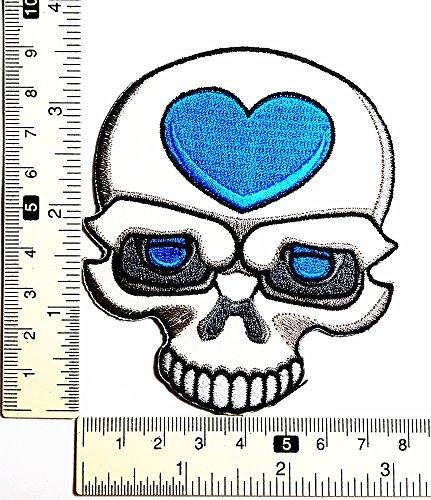 Skull Kid Herz blau Cartoon Ghost Skelett Halloween Patch Weste/Jacke Biker Patch Motorrad Fahrer Biker Tattoo Jacke T-Shirt Patch Sew Iron on gesticktes Schild Badge - Skelett Biker-shirt