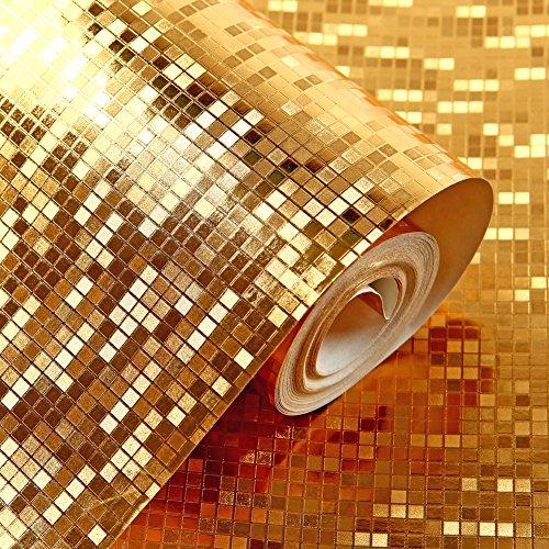 Hanmero Moderne Luxus Tapete, Blattgold farbenfrohe glänzend Fototapete für Schlafzimmer Wohnzimmer Hotel Decoration Wand 3 Farbe 10*0,53m … (Gold-Gelb)