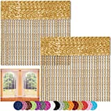 Bestlivings Fadenvorhang 2er Pack Gardine Raumteiler, Auswahl: 90x240 Gold - goldbeige