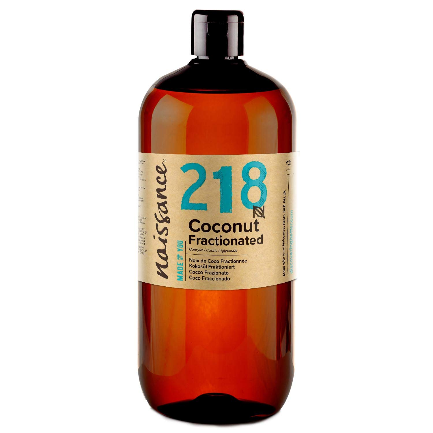 Naissance Fractionated Coconut (#218) 1 Litre – Pure, Natural, Cruelty Free, Vegan – Moisturising & Hydrating – Ideal for Aromatherapy, Massage and DIY Beauty Recipes