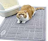Vivaglory Large(90x60CM) Cat Litter Mat, Durable Non-slip & Waterproof Litter Box Mat, PHTHALATE & BPA Free, Pet Mat for Kitty Dog Small Animals, Grey