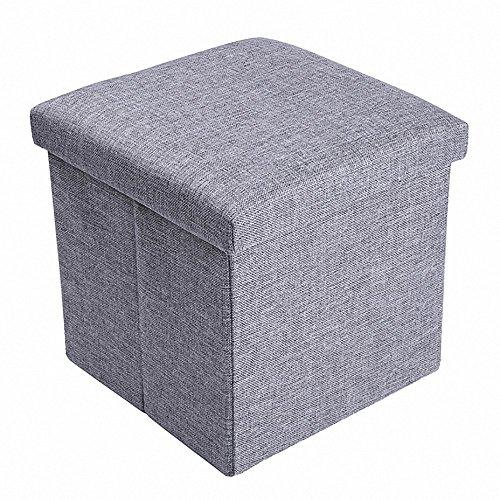 Sitzhocker Faltbar mit Stauraum Aufbewahrungs hocker Klapphocker Ottomane Sitzwürfel Fußbank Leinen Sitzbox(30x30x30cm,Grau/Beige)
