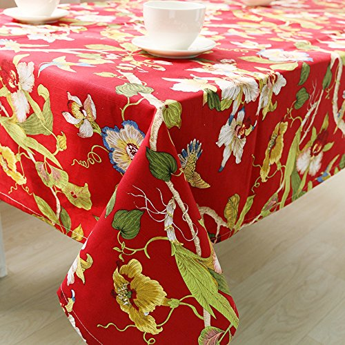 lkklily-tableclothcotton Bedruckte Tischdecke Tischdecke Tischdecke Esstisch Set, rot, Cushion 40*40*2cm -