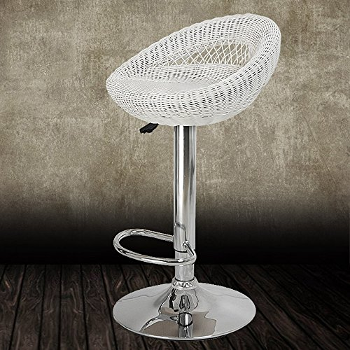Zaixi Kirschbaum Möbel Set 2 Wicker Rattan hoch Swivel Bar Hocker Küche Hocker (weiß) (Küche Stühle Wicker)