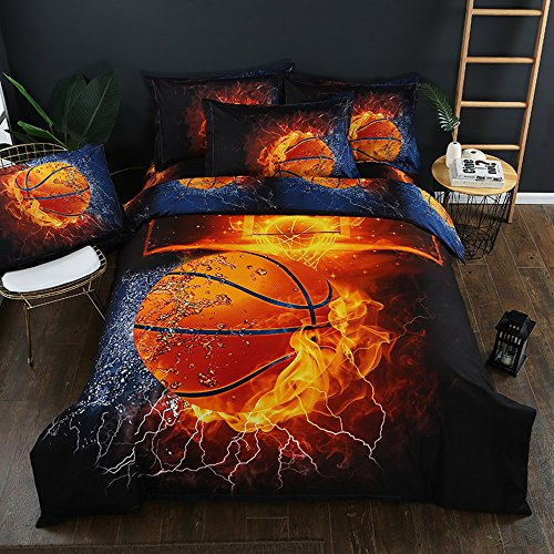 Stillshine Juego de funda nórdica diseño de balones de fútbol y baloncesto juego de funda de edredón y funda de almohada juego de cama (Baloncesto, 180 x 220 cm - Cama 105/90 cm)