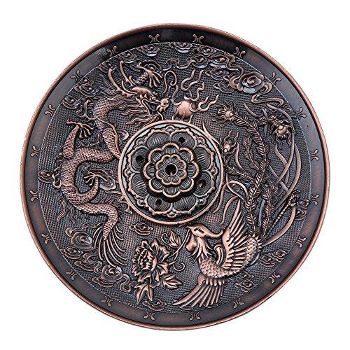 Akozon Räucherstäbchen Halter Zinklegierung Räucherstäbchenhalter Halter Drachen Muster Räuchergefäß Platte für Schlafzimmer Tempel Bronze für Heim und Büro Dekoration (Rotes Kupfer) - Drachen-halter