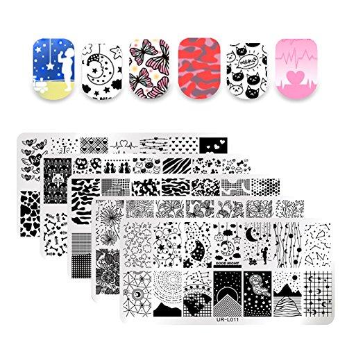UR SUGAR 5Pcs Nail Art Stamping Plate Teller-Set Blumen Sommer Star Camouflage Streifen Tier Cartoon Rechteck Bildvorlage Kit für Maniküre Print für Halloween